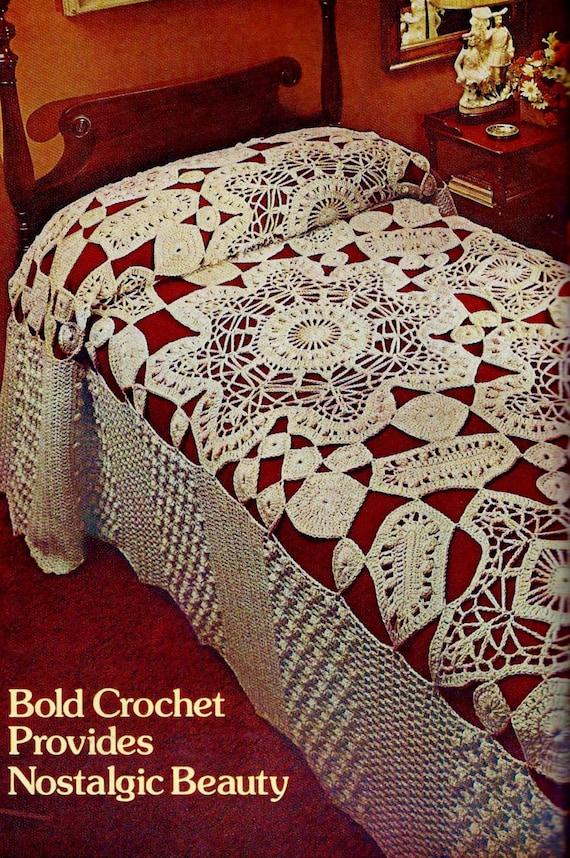Giant Flowers Lace Bedspread Vintage Crochet Pattern Instant Etsy