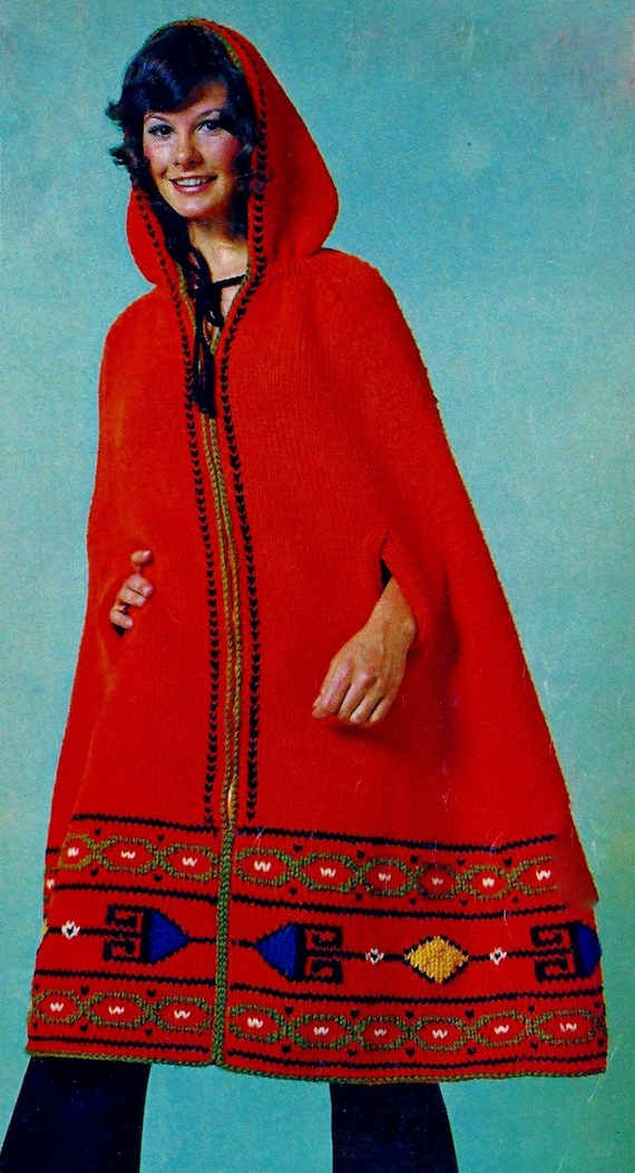 Hooded Cape Vintage Knitting Pattern Instant Download Etsy