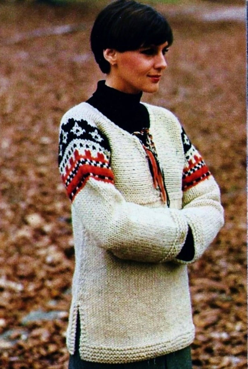 Knitted Sweater Digital Download Vintage Knitting Pattern