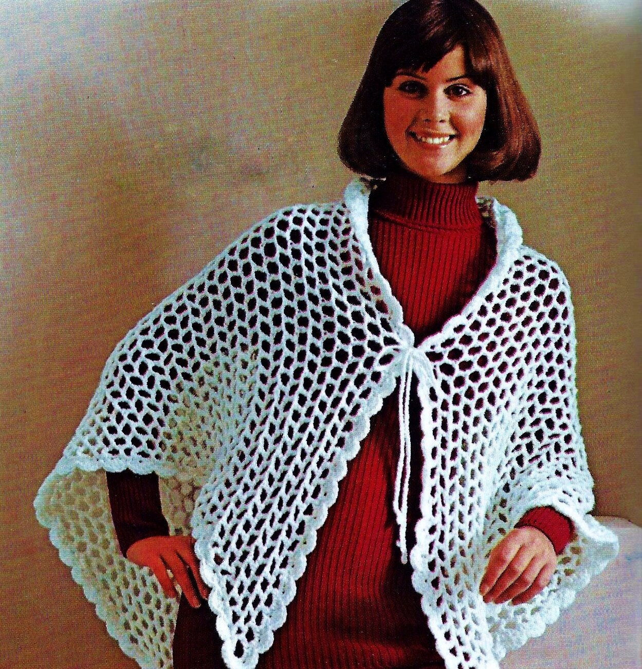 Easy Crochet Shawl Vintage Crochet Pattern Instant Download Etsy