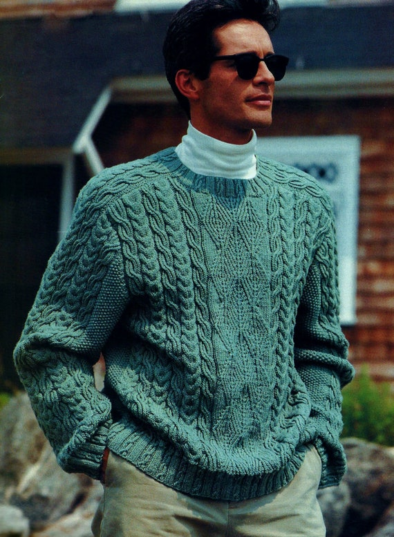 Guernsey And Cable Sweater Vintage Knitting Pattern Instant Etsy