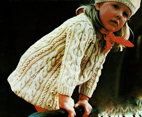 Childs Cable Knit Dress And Beret Hat Vintage Knitting Pattern Etsy