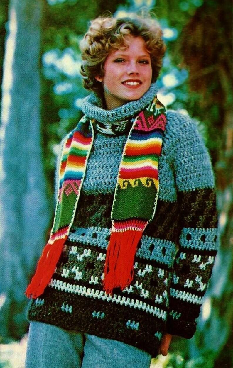 Icelandic Crocheted Sweater Vintage Crochet Pattern Instant Etsy