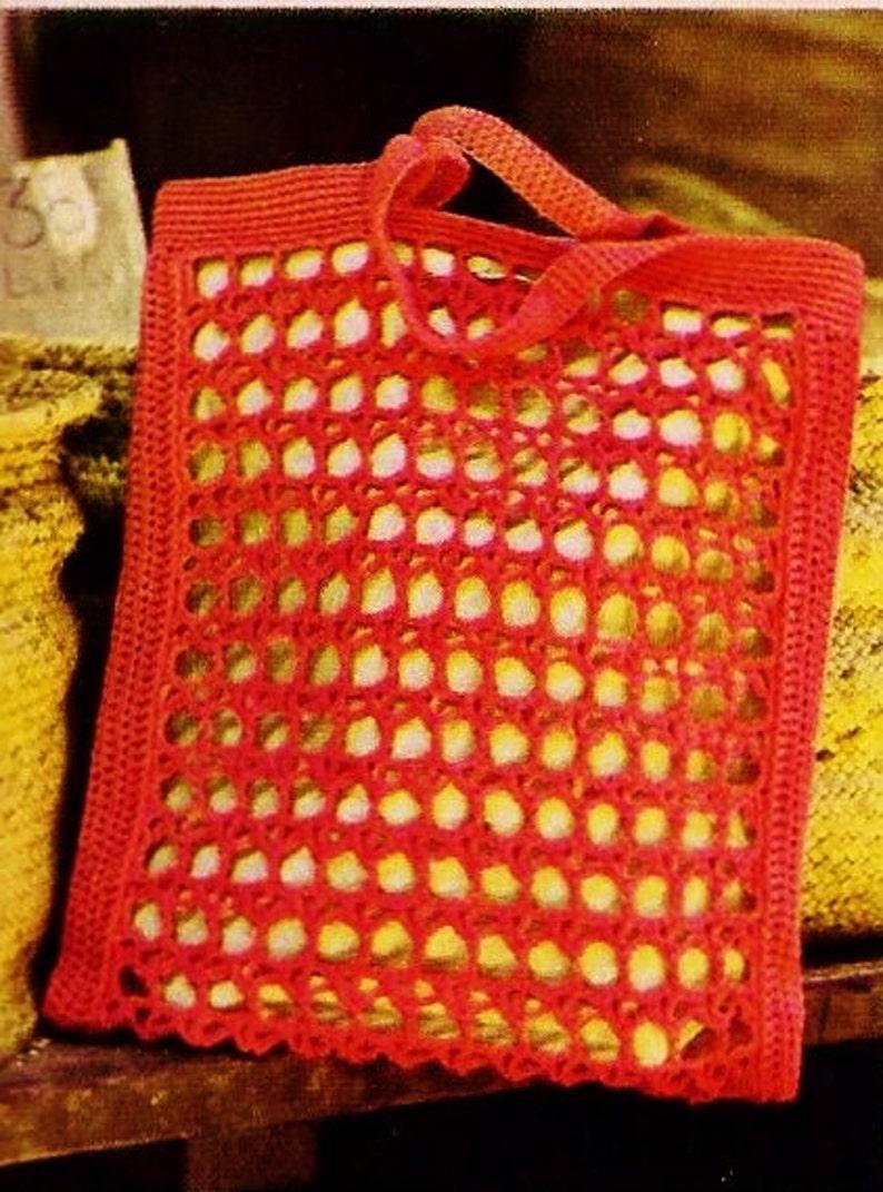 Crochet Mesh Market Bag Vintage Crochet Pattern Instant Etsy