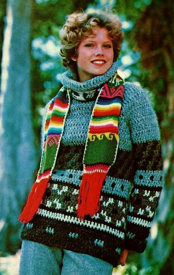 9aa990810 Icelandic Crocheted Sweater Vintage Crochet Pattern Instant