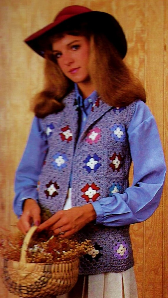 Granny Square Vest Vintage Crochet Pattern Download | Etsy