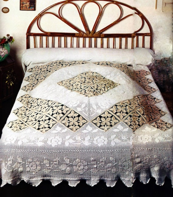 Lily #800 1940s 10 Projects Crocheted Bedspreads Vintage Book Download PDF 0150