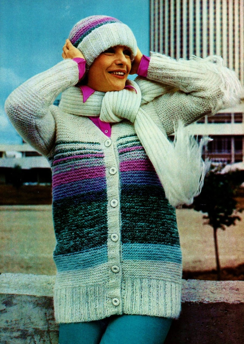 Jacket with Hat and Scarf Vintage Knitting Pattern Instant Download
