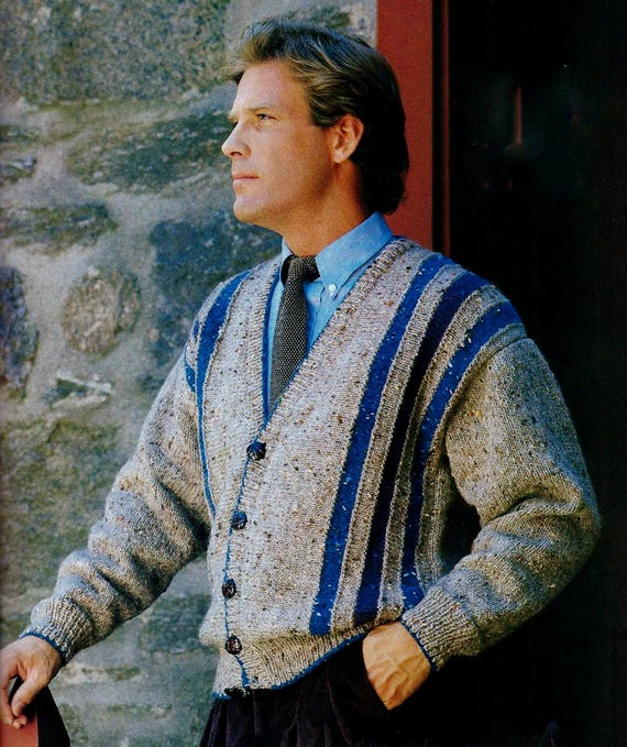 Striped Cardigan Sweater Vintage Knitting Pattern Instant Etsy