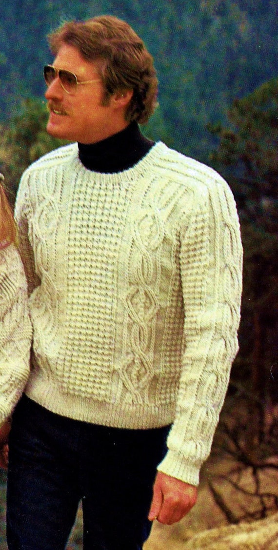 Fisherman Cable Sweater Vintage Knitting Pattern Instant Etsy