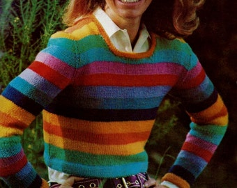 Rainbow Striped Pullover Sweater Vintage Knitting Pattern Download