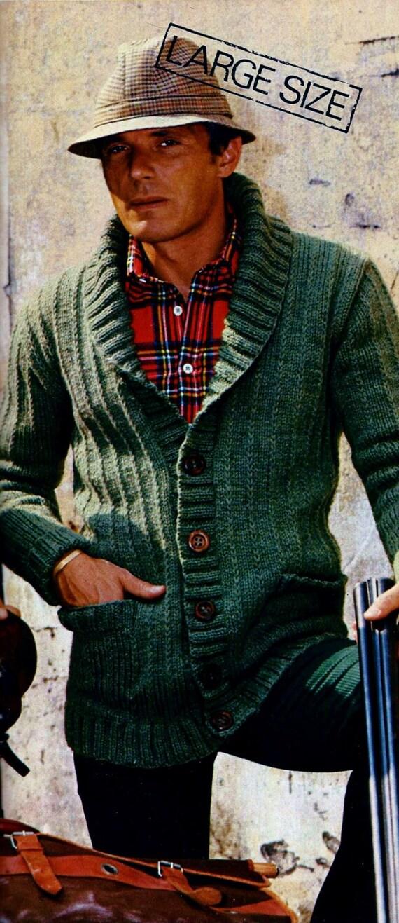 Mens Shawl Collar Cardigan Vintage Knitting Pattern Instant Etsy