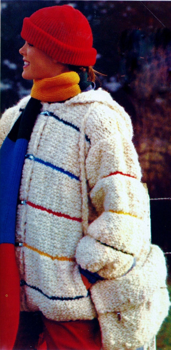 Hooded Jacket With Muff Vintage Knitting Pattern Instant Etsy