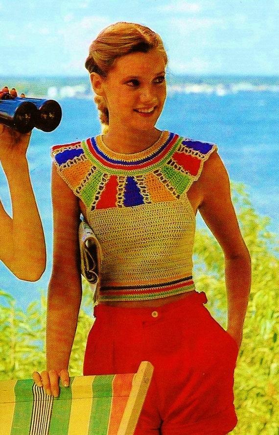 Egyptian Yoke Halter Top Vintage Crochet Pattern Download Etsy