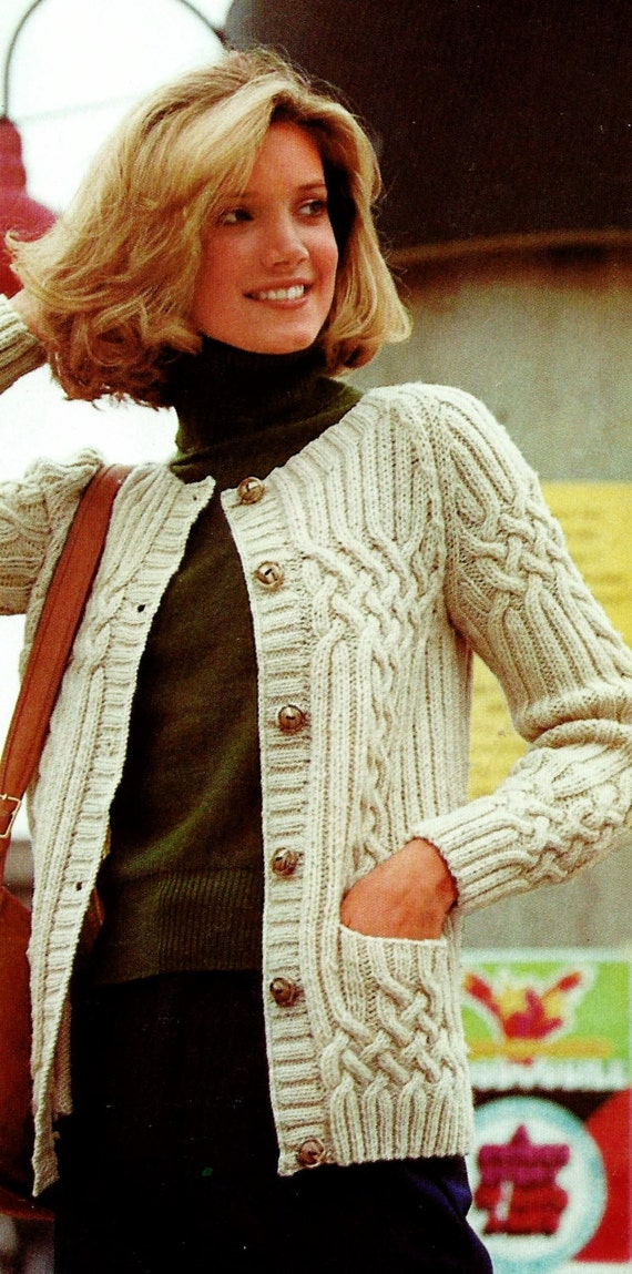 Cable And Rib Fisherman Cardigan Vintage Knitting Pattern Etsy