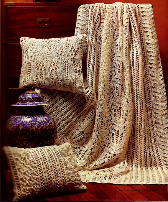 Frost Flower Lace Afghan With Pillows Vintage Knitting Pattern Etsy