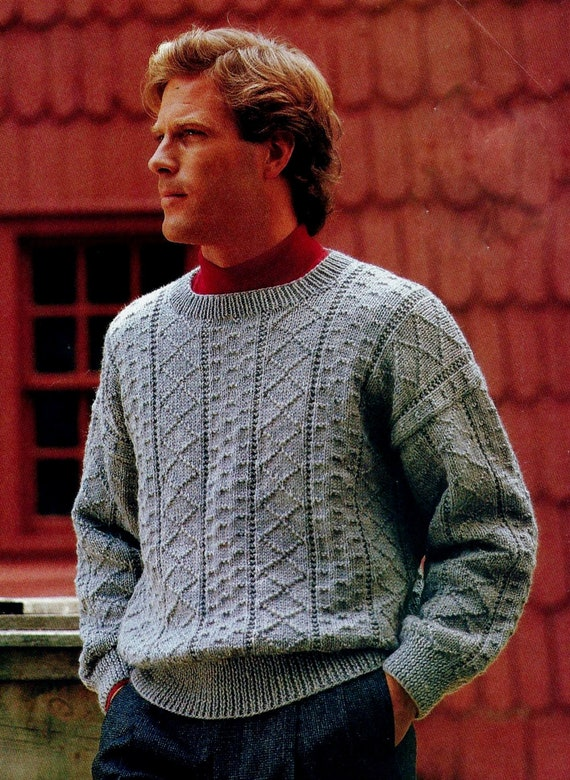 Guernsey Pullover Sweater Vintage Knitting Pattern Instant Etsy