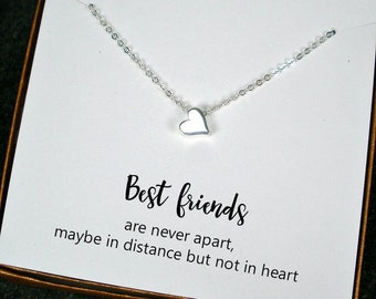 Best Friend Gift Jewelry Long Distance Friendship Birthday Christmas Heart Necklace