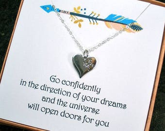 Graduation Gift, Compass Necklace, High School Graduation, College, Sister Graduation, Graduation Gift for Her, New Job Gift, Heart Compass
