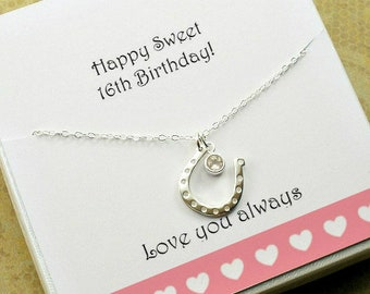 Sweet 16 Birthday Gift 16th Girl Daughter Horseshoe Necklace Horse Lover Western Jewelry Gemstone Luck