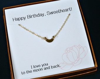 Birthday Gifts for Her, Birthday Gift for Wife, Girlfriend Birthday Gift, Wife Birthday, Crescent Moon Necklace, with birthday card message