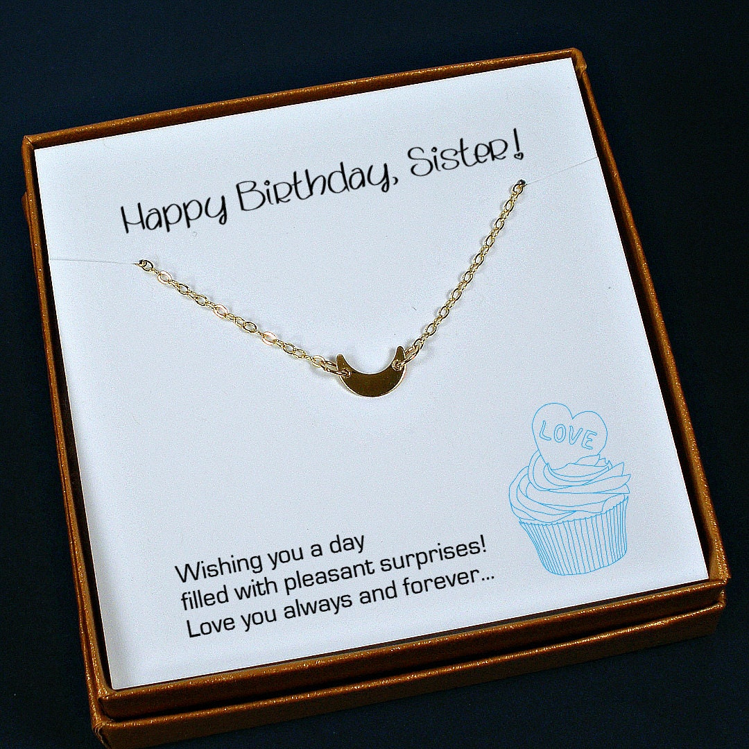 Sister Birthday Gift Gold Necklace