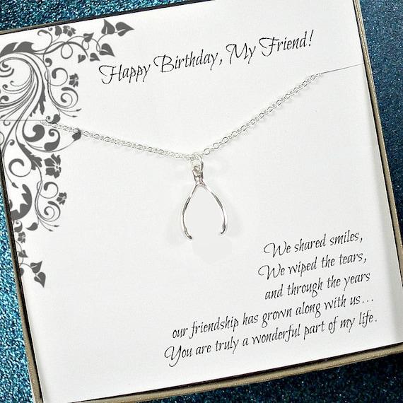 Friend Birthday Gift Best Necklace Wishbone Good Luck