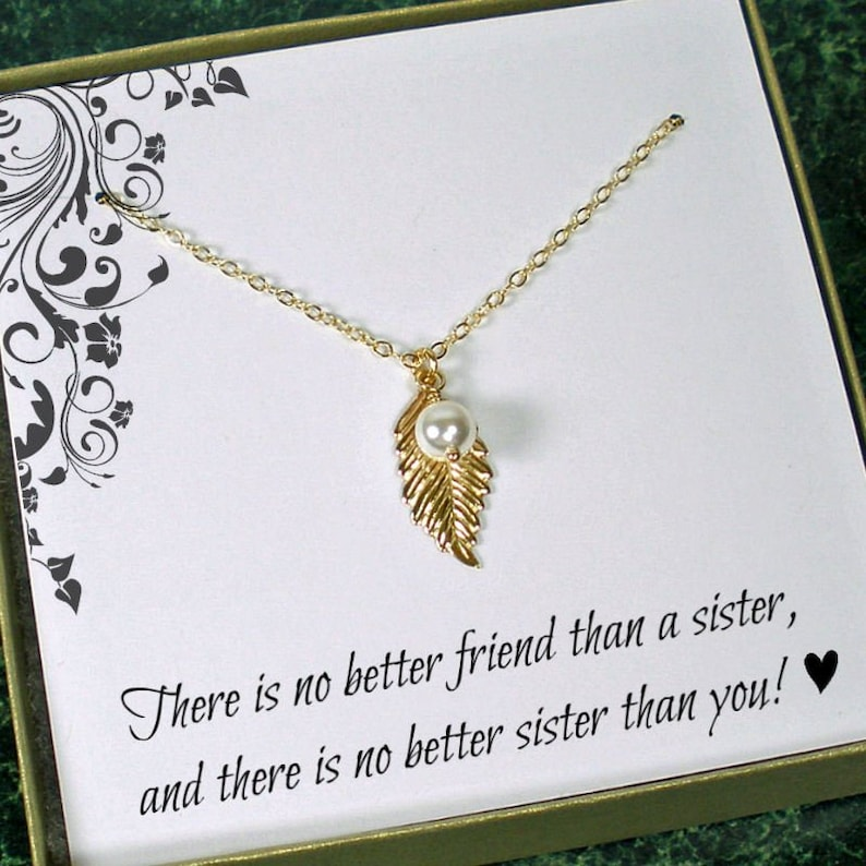 Sister Necklace Dainty Leaf Unique Gift