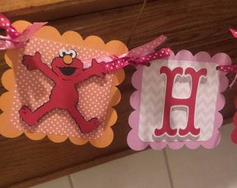 Elmo Banner, Elmo Birthday Banner, Elmo Red Orange and White birthday banner, Matching Tissue Pom Poms Are Available