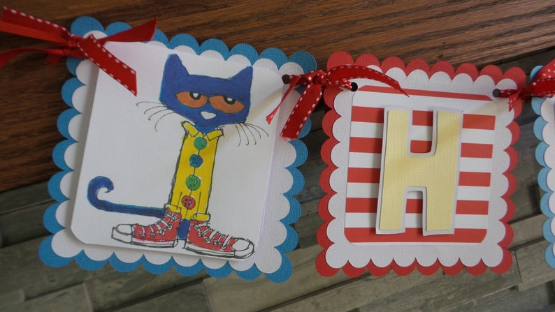 Pete The Cat Happy Birthday Banner Boy Pete The Cat Party Etsy