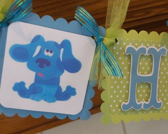 Blues Clues Banner, Blues Clues Birthday Banner, Boy Birthday Banner, Blue Green Blues Clues Banner, Polka Dotted Blues Clues Decor