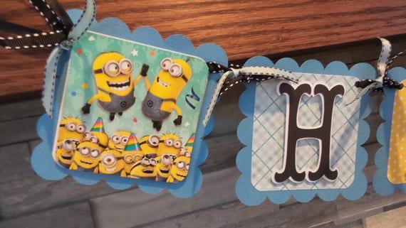 Banderole Joyeux Anniversaire Minions Minions Party Decor Etsy