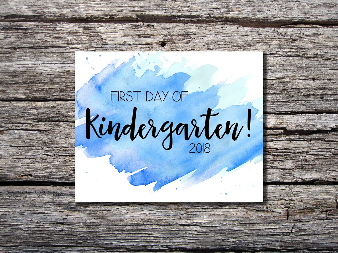 First Day of School Sign / Kindergarten / Watercolor / First   Etsy
