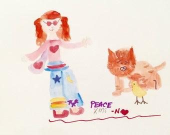 Hippie Girl with Orange Cat and Duck sharing Love, Greeting card, Art print, Lilymoonsigns,