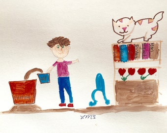 Tanin pours oil, factory Worker, Cute cat watches, Red blue brown, Lilymoonsigns,