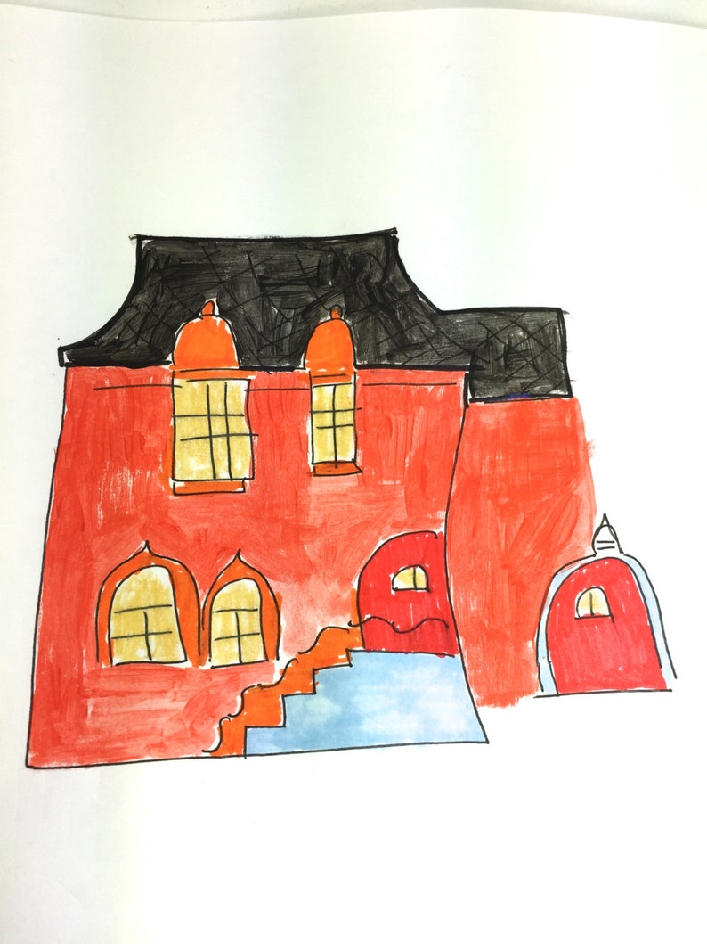 Lilymoonsigns Red Orange House Just Because Greeting Card