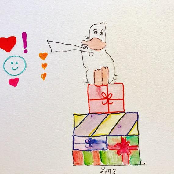 Duck Happy Birthday Card Greeting Art Print Ephemera