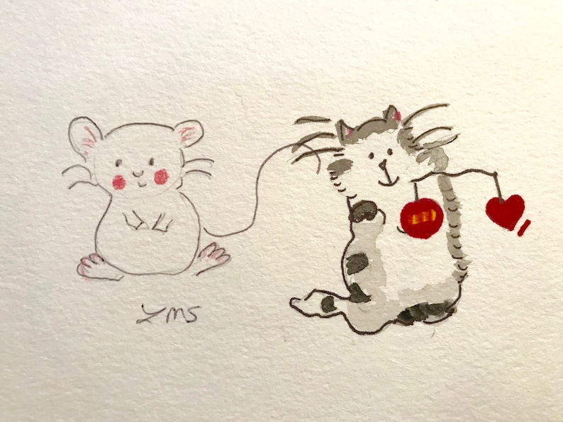 Cat and Mouse friendship card christmas card Christmas ornaments playing around