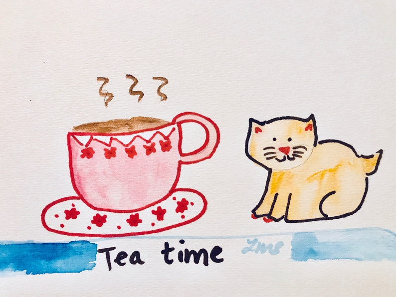 lets have coffee, Cat with teacup Lilymoonsigns greeting card Tea time art print