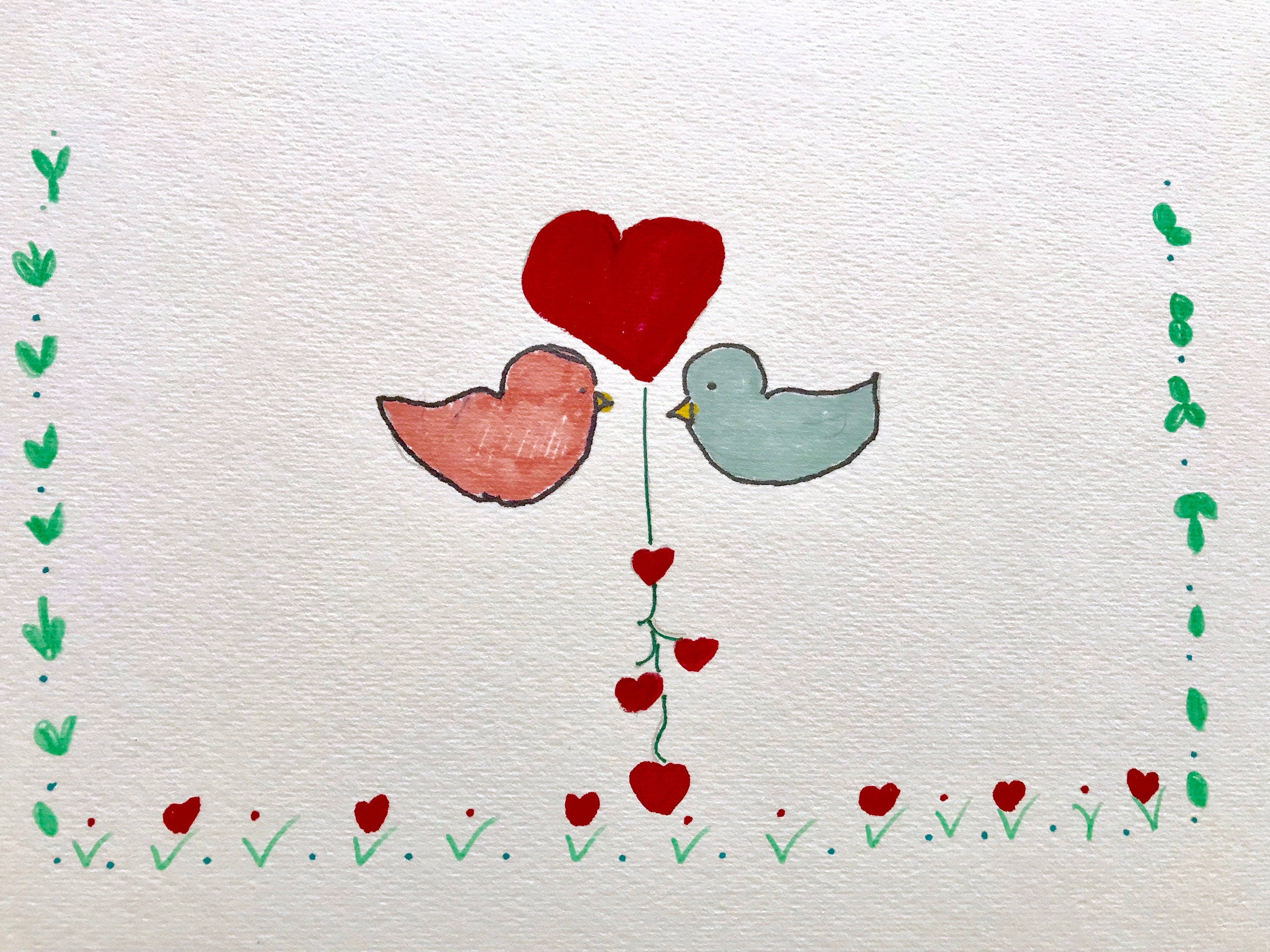 2 Love birds, Dating Humor, Greeting Card, Lilymoonsigns,