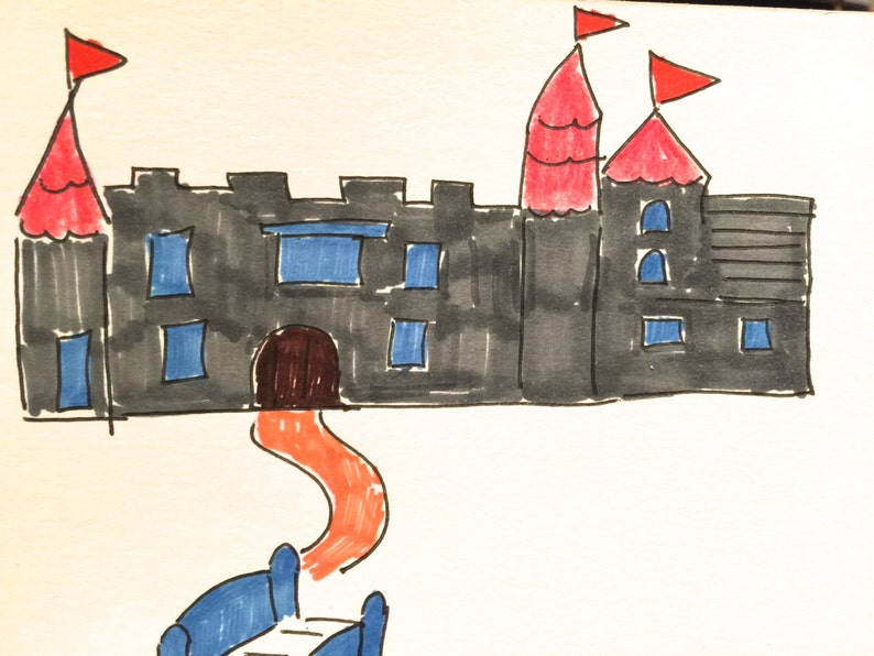 Castle Grey Orange Blue Lilymoonsigns Greeting Card,