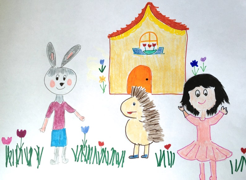 Mustard House Lilymoonsigns, Jeff Bunny hangs with Brett Hedgehog and Gina Child Illustration