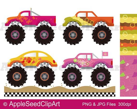 Monster Trucks Digital Clip Art Girls Monster Trucks Digital Etsy