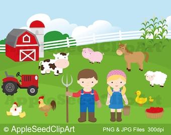 Farm Animals Digital Clip Art, Barnyard Digital Clip Art, Farmer Digital Clip Art, Instant Download