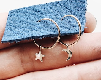 7e20c9e21 moon and star hoop earrings 14ky solid Gold hoop with tiny silver star moon  charms 15mm endless gold hoops minimalist jewelry celestial