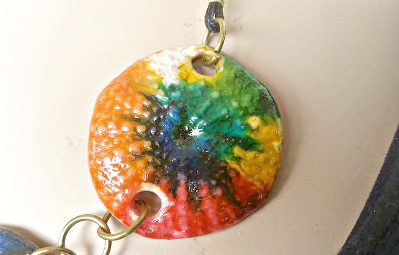 beach necklace OOAK rainbow statement necklace urchin bib necklace sea life jewelry Bold necklaces greek shop polymer clay necklace