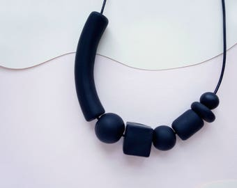 Landscape Necklace - Black (leather + clay beads)
