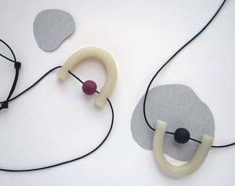 Mini U Necklace - Translucent (Leather + Clay Beads)