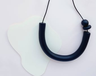 Lucky U Necklace - Black (Leather + Clay Beads)