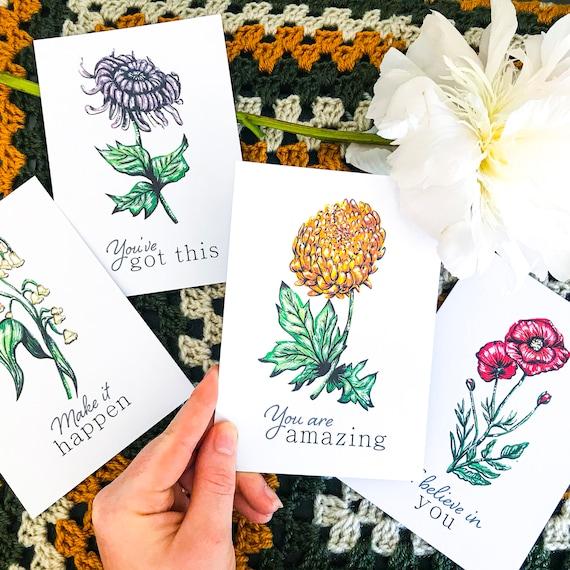Inspirational Botanical Postcard Set | Botanical illustration, positivity cards, motivational, encouragment